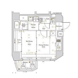 都営大江戸線 西新宿五丁目駅 徒歩22分の賃貸マンション 4階1DKの間取り