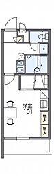 レオパレスアトラス折立II 3階1Kの間取り