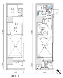 JR山手線 大崎駅 徒歩7分の賃貸マンション 4階ワンルームの間取り