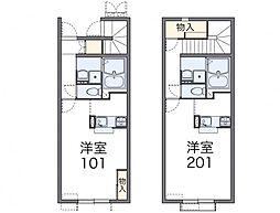 仙台市地下鉄東西線 八木山動物公園駅 徒歩17分の賃貸アパート 1階1Kの間取り
