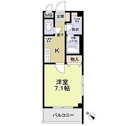 ブドワール21 3階1Kの間取り