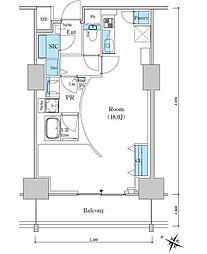 ロイヤルパークスER万代 14階ワンルームの間取り