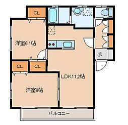 ファミーユ上飯田I番館 2階2LDKの間取り