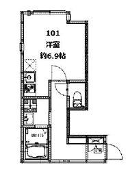 コンフォルトX(コンフォルトテン) 1階ワンルームの間取り