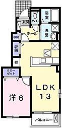 グランドソレイユII番館 1階1LDKの間取り