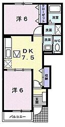 サニ-・ハイタ-I 1階2DKの間取り