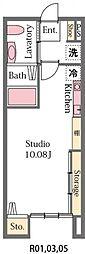 JR高崎線 高崎駅 徒歩25分の賃貸アパート 2階ワンルームの間取り