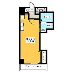 A・City三河安城北館 3階ワンルームの間取り