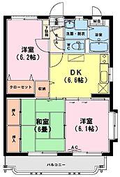 ユーミーアローレ 4階3DKの間取り