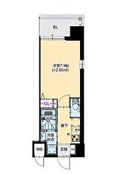 JR大阪環状線 芦原橋駅 徒歩7分の賃貸マンション 4階1Kの間取り