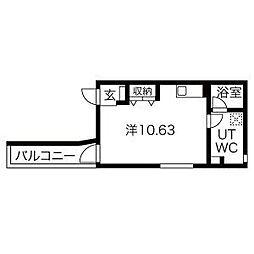 アバンティ名駅北 3階ワンルームの間取り