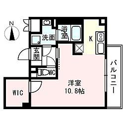 ラフテル八木 2階ワンルームの間取り