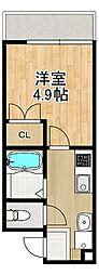 Modern Palazzo 長崎大学前 2階1SKの間取り