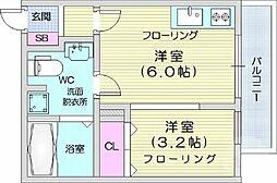 JR仙山線 国見駅 徒歩2分の賃貸アパート 2階ワンルームの間取り