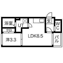 ドルフ月見 3階1LDKの間取り