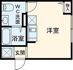 JR総武線 東中野駅 徒歩11分の賃貸アパート 1階ワンルームの間取り