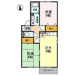 メゾン・デュ・ソレーユ城北館 2階2DKの間取り