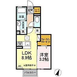 (仮)D-room平柳町 2階1LDKの間取り