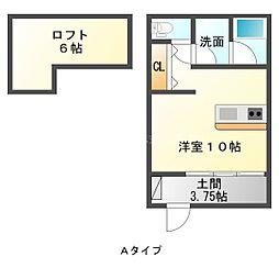 遠州鉄道 第一通り駅 徒歩13分の賃貸アパート 2階ワンルームの間取り