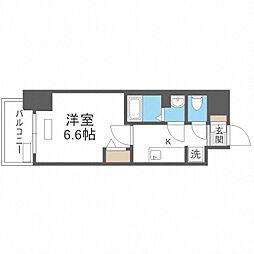 Osaka Metro谷町線 四天王寺前夕陽ヶ丘駅 徒歩8分の賃貸マンション 9階1Kの間取り