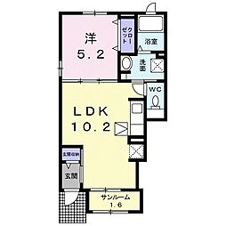 JR仙石線 石巻あゆみ野駅 徒歩6分の賃貸アパート 1階1LDKの間取り