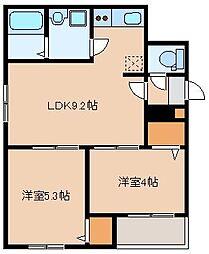 JR鹿児島本線 箱崎駅 徒歩11分の賃貸アパート 2階2LDKの間取り