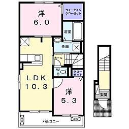 ル・ヴァンヴェール 2階2LDKの間取り