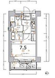 XEBEC大鳥居IV 5階1Kの間取り