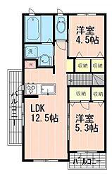 京王井の頭線 三鷹台駅 徒歩27分の賃貸アパート 2階2LDKの間取り