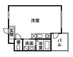 JR東海道本線 小田原駅 徒歩10分の賃貸マンション 2階ワンルームの間取り