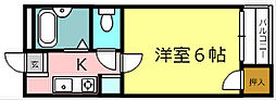 シェモア桂坂 2階1Kの間取り