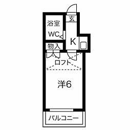 フォーレスト亀崎 2階1Kの間取り