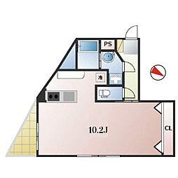 東京メトロ日比谷線 広尾駅 徒歩17分の賃貸マンション 3階ワンルームの間取り