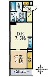 JR中央線 三鷹駅 徒歩12分の賃貸アパート 1階1DKの間取り