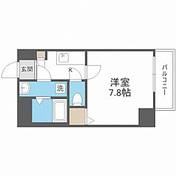 Osaka Metro御堂筋線 中津駅 徒歩13分の賃貸マンション 6階1Kの間取り