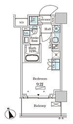 パークアクシス大塚ステーションゲートタワー 20階ワンルームの間取り