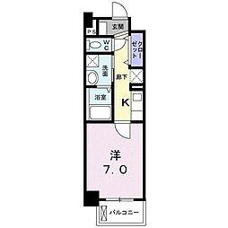 ミルト熊野 2階1Kの間取り