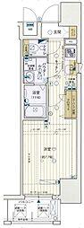レジュールアッシュ梅田LUXE 12階1Kの間取り