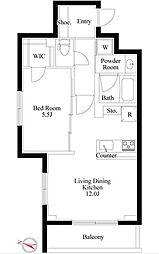 東急東横線 都立大学駅 徒歩8分の賃貸マンション 2階1LDKの間取り