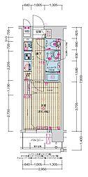 JR大阪環状線 森ノ宮駅 徒歩5分の賃貸マンション 6階1Kの間取り