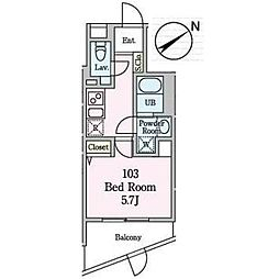 JR山手線 恵比寿駅 徒歩11分の賃貸マンション 地下1階1Kの間取り