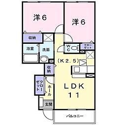 サンライズIII 1階2LDKの間取り
