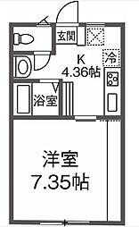 JR南武線 尻手駅 徒歩7分の賃貸アパート 2階1Kの間取り