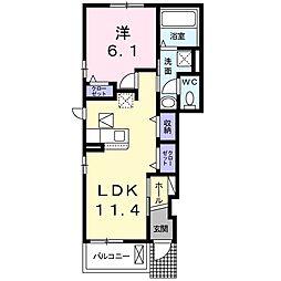 エスポワールK&LV 1階1LDKの間取り