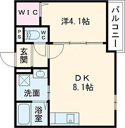京阪本線 寝屋川市駅 徒歩10分の賃貸マンション 1階1DKの間取り