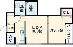 デイトナ 2階1LDKの間取り