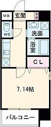 折尾4丁目賃貸マンション 7階1Kの間取り