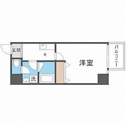 TOYOTOMi STAY Premium梅田西II 3階1Kの間取り