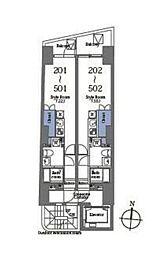 京王線 笹塚駅 徒歩6分の賃貸マンション 2階ワンルームの間取り