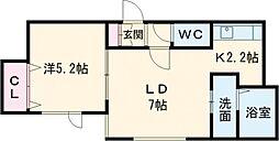 ラグドール 2階1DKの間取り